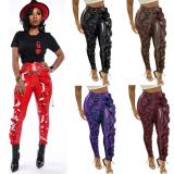 2020 Women Winter Fashion Sexy Tall Waist Tight Characteristic Agaric Edges PU Leather Pants 202004137047