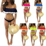 2020 Women Sexy color matching sling ruffled Bikini swimwear two-piece 20200317526