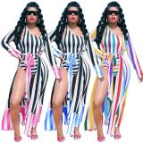 2020 Very Chic Ladies Suit Sexy High Stretch Printed Swimsuit Coat And Jumpsuit Suit Ladies Two-piece Suit 202003103942