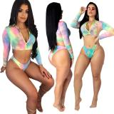 2020 Fashion Sexy Multicolor Printed Long Sleeve Swimsuit Beach Suit Set High Elastic Summer 202003173677