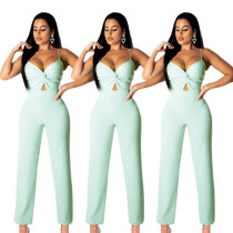 2020 Summer Casual Solid Color Sexy High Waist Suspenders Jumpsuit Women's Clothing 202005196564