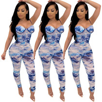 2020 Summer Fashion Sexy Printed Word Shoulder Pleated One-piece Women Jumpsuit 20200507524