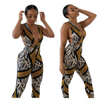 2020 Fashionable Casual Sexy Tight Straps Wrapped Chest Zebra Snake Print Printed Jumpsuit Autumn 202005067110