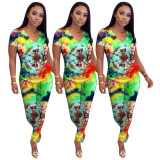 2020 Summer Two Piece Set Women Clothing Color Printing Self-cultivation Short Sleeve Long Trousers 20200511112