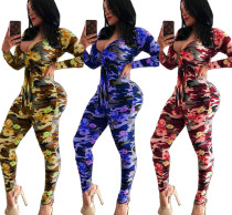 2020 Women Autumn Fashion Sexy Casual Flower Camouflage Print V-neck Tight Jumpsuit 202005099061