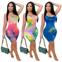 2020 Summer Women Sexy Jumpsuits Color Printing Sling Close-fitting Fashion Leisure 20200525165