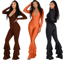 2020 Women Autumn Fashion Sexy Casual V-neck Low Chest Tight Solid Color Cascade Flounces Jumpsuit 202005099062