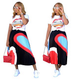 2020 Very Chic Ladies Casual Sexy Suit Mouth Printed Short-sleeved T-shirt Skirt Two-piece Summer 20200507090