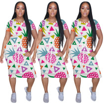 2020 Summer Women Casual Dresses Fruit Printing Short Sleeve Tie A Belt Fashion Leisure 20200512116