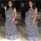 2020 Fashion Casual Sexy Comfortable Striped Round Neck Dress Sleeveless Long Skirt Autumn 202005188267
