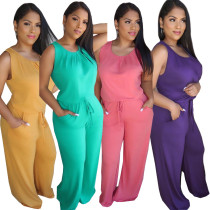 2020 Fashionable Casual Sexy Breathable Solid Color Loose Sleeveless Long Jumpsuit Summer 202005188266