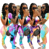 2020 Fashion Casual Sexy Spring And Summer Set Tie-dye Color Short-sleeved Trousers Fold Pants Sports Suit 202005293780