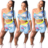 2020 Summer Two Piece Set Women Clothing Single Sleeve Cartoon Printing Close-fitting 20200519120