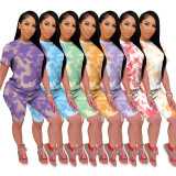 2020 Summer Leisure Home Wear Tie-dye Round Neck Short Sleeve Sports Two-piece Suit 202005191089