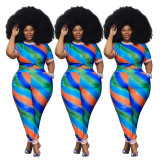 2020 Summer Plus Size Two Piece Set Women Clothing Striped Printing Ribbed Splicing 202005185098