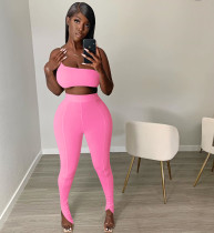 Women's Casual Sexy Sports Tight Two-piece Set Irregular Backless Sling Fold Fishtail Trousers Trousers Solid Color CX200604124