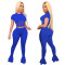 Copy Copy Copy Copy Spring, Summer And Autumn Sports And Leisure Women's Mesh Splicing Solid Color Exposed Navel Flared Pants Suit Two-Piece Set CX202006054026