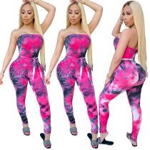 2020 Fashion Sexy Summer Jumpsuit Suspenders Tube Top Tie-dye Printed Hollow Halter Strap Jumpsuit 202005293782