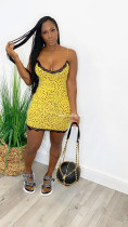 Summer Fashion Lady Sexy Polka Dot Black Lace Border Leopard Print Short Skirt Strap Mini Dress  BL2006049210