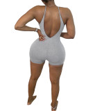 Summer Fashion Ladies Sexy Round Neck Tight Backless Straps Short Solid Color Jumpsuit BL200605DN8387