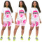 Summer Women's Sports And Leisure Printing And Dyeing Color Lips Printing Short-Sleeved T-shirt Shorts Pants Suit Two-Piece Set CX2006064031