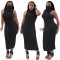 Spring And Summer New Women's Solid Color Round Neck Pleated Sleeveless Mask One-piece Dress Nightclub Long Skirt CX202006064032