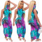 New Summer Women's Clothing Casual Temperament Printed Round Neck Sleeveless Mask One-piece Dress Nightclub Long Skirt CX202006064033