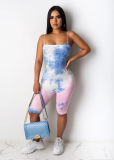 Summer Fashion Woman Suspenders Multicolor Tie-Dye Clothes Casual Tight Short Jumpsuits  BL2006068269
