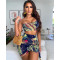 Summer Ladies Casual Fashion Sexy Slim One-shoulder Halter Backless Exposed Navel Multicolor Printing Straps Irregular  Skirt Short Coat Top Two-Piece Suit CX2007107192