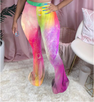 Summer Ladies Casual Fashion Trend Sexy Comfortable Slim Mid Waist Elastic Tie-Dye Printing Multi-Color Optional Flared Trousers CX200805158
