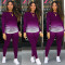 Autumn Ladies Casual Fashion Sexy Loose Elastic Round Neck Pullover Gradient Color Long-Sleeved Trousers Two-Piece Suit CX2008071115