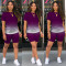 Summer Ladies Casual Fashion Sexy Loose Elastic Round Neck Pullover Gradient Color Short Sleeve Shorts Two-Piece Suit CX2008071106