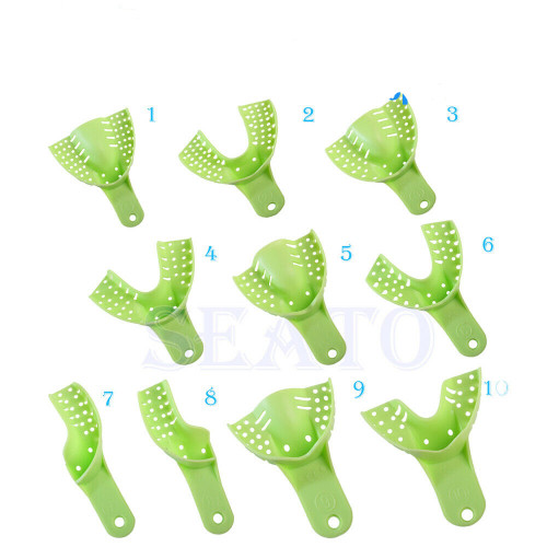 Dental Plastic Impression Trays for Dental Repeated Use Green Color