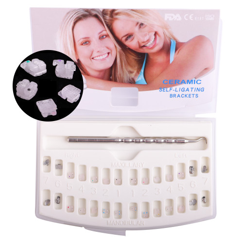 Dental Orthodontic ceramic Active/Passive self ligating brackets brace with buccal tubes