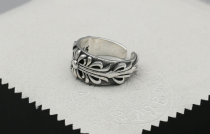 Chrome Hearts Open Ring Floral Carving Solid 925 Sterling Silver CHR049