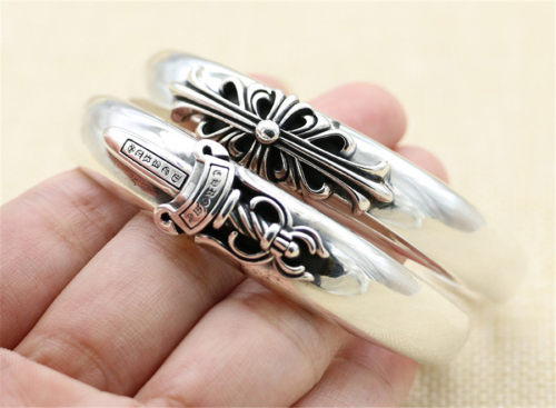 Chrome Hearts Open Bangle Keeper / Sword CHT023 Solid 925 Sterling Silver