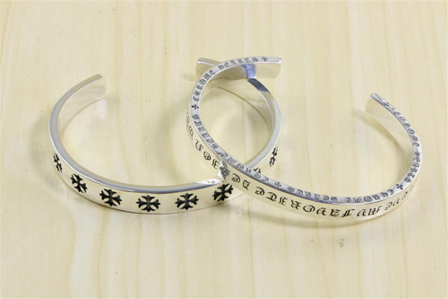 Chrome Hearts Open Bangle Spacer God bless the world CHT031 Solid 925 Sterling Silver