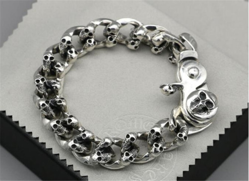 CHROME HEARTS BRACELET 925 Silver Skull Skeleton Rough Bracelet CHB077