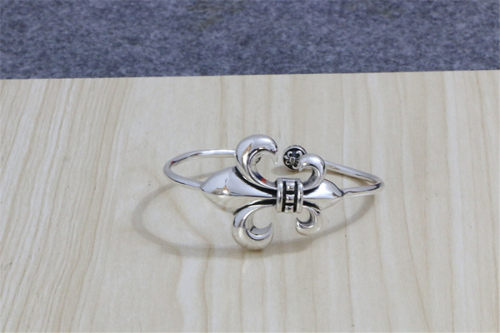 Chrome Hearts Bangle Open Army Fleur CHT057 Solid 925 Silver