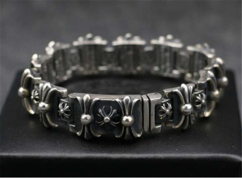 CHROME HEARTS Wide 925 Sterling Silver Cross Bracelet CHB070