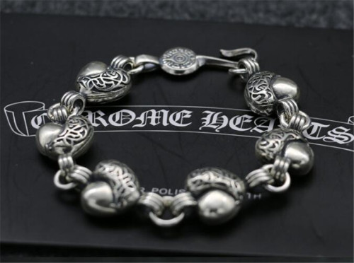 CHROME HEARTS BRACELET Complex Silver Bracelet Rough Thai Silver Heart Shape CHB094