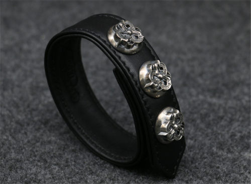Chrome Hearts Leather Bangle CHT038 Solid 925 Sterling Silver