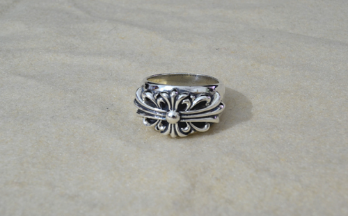 Chrome Hearts Ring Floral Carving CHR069 925 Sterling