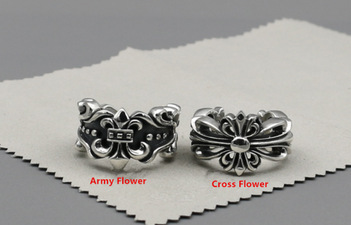 Chrome Hearts Army Flower Open Ring Plus CHR083 Solid 925 Sterling Silver