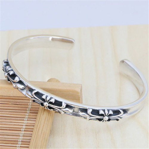 Chrome Hearts Bangle OPEN  CH CROSS CHT042 Solid 925 Sterling Silver