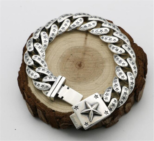 CHROME HEARTS BRACELET Sterling Silver Pentacle Star Bracelet Wide Rough CHB082