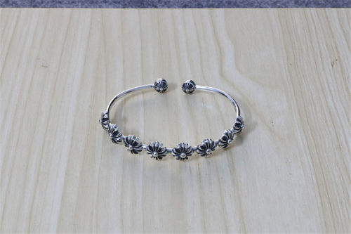 Chrome Hearts Bangle Open Flower CHT034 Solid 925 Sterling Silver