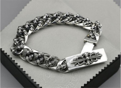 CHROME HEARTS BRACELET Sterling Silver Cross flower CHB076