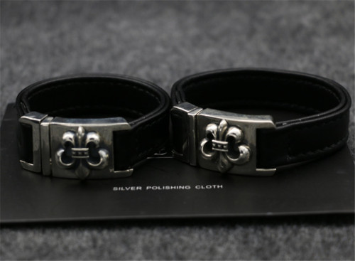 Chrome Hearts Leather Bangle Buckle CHT039 Solid 925 Sterling Silver