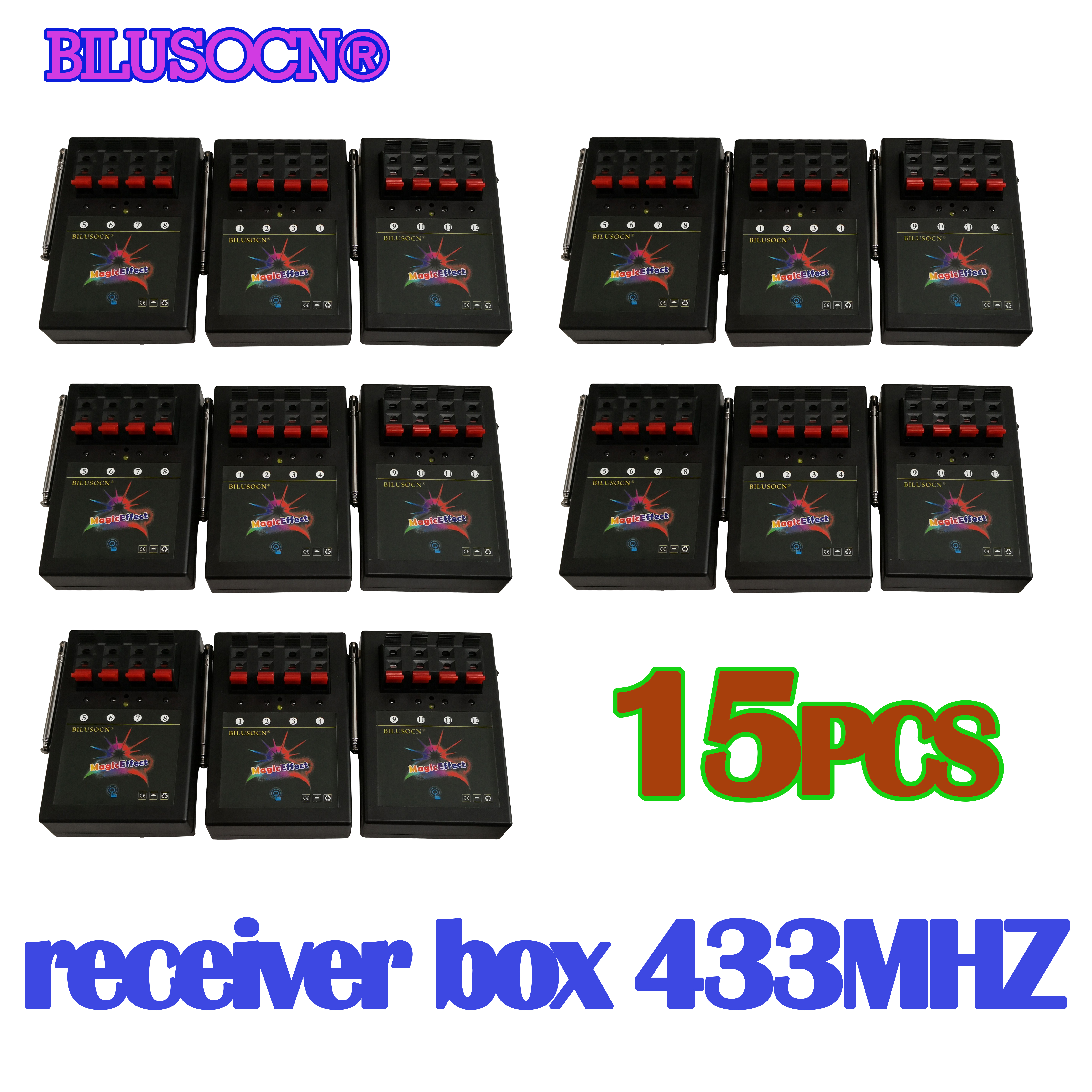 15 PCS 4 cues receiver box 433MHZ for fireworks firing system